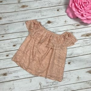 Lucky Brand Blush Pink Ruffle Off-Shoulder Top